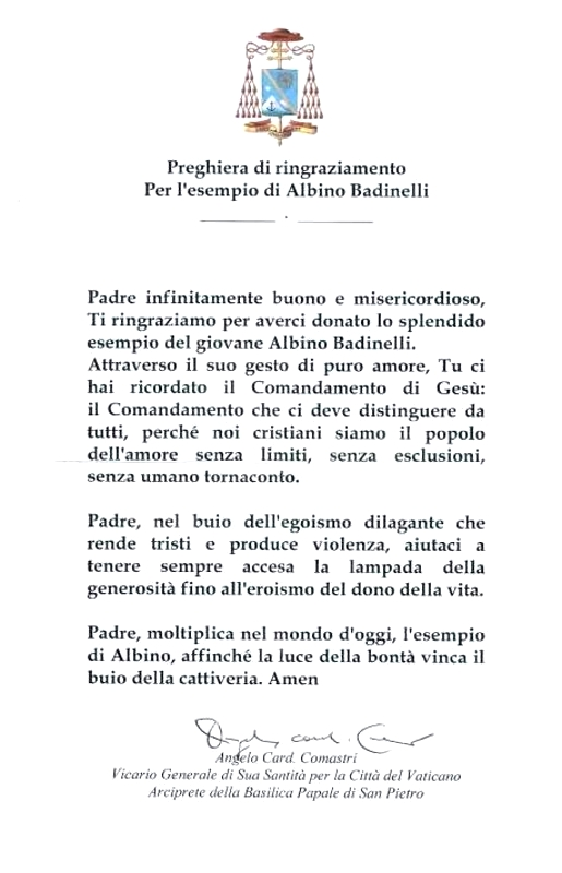 Preghiera di ringraziamento per Albino Badinelli